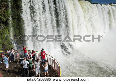 Stock Image of Tourists on a lookout, waterfalls, Parque Nacional.