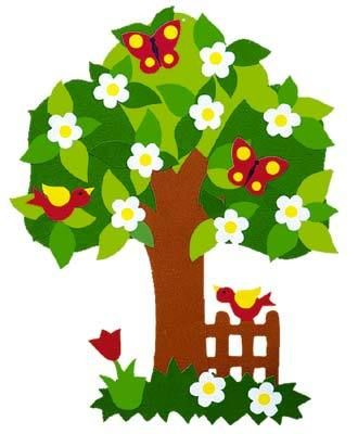 Spring Tree with Snowdrops PNG Clipart Picture.