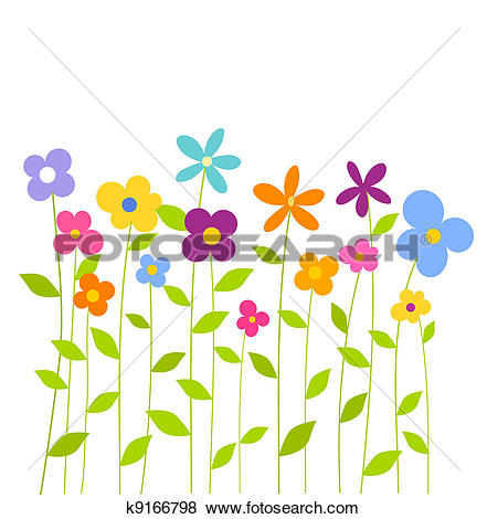 Clipart of Flowers pansies and sky, background k9430821.