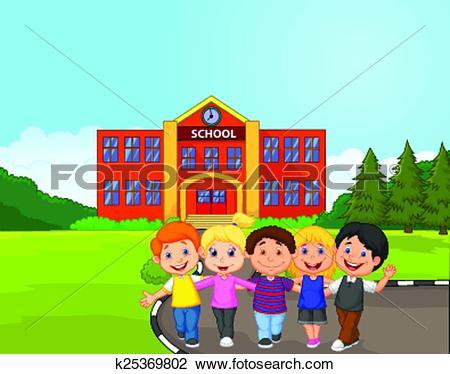 Clipart of Happy school children cartoon in fr k25369830.