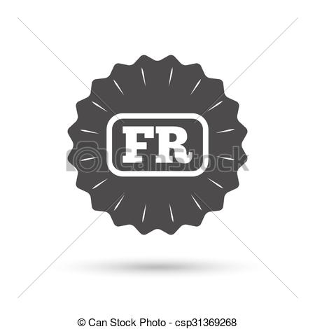 Clip Art Vector of French language sign icon. FR translation.