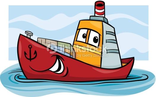 Frachtschiff Cartoon Illustration Vektorgrafik.