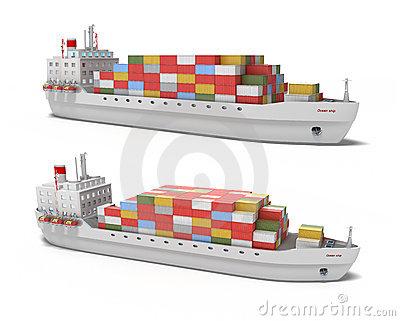 Frachtschiff Auf Weißem Hintergrund Lizenzfreies Stockbild.