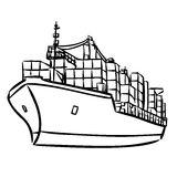 Frachtschiff Mit Der Behälterikonenhand Gezeichnet Vektor.