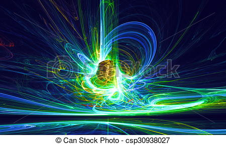Clip Art of Mysterious alien form magnetic fields in the dark.
