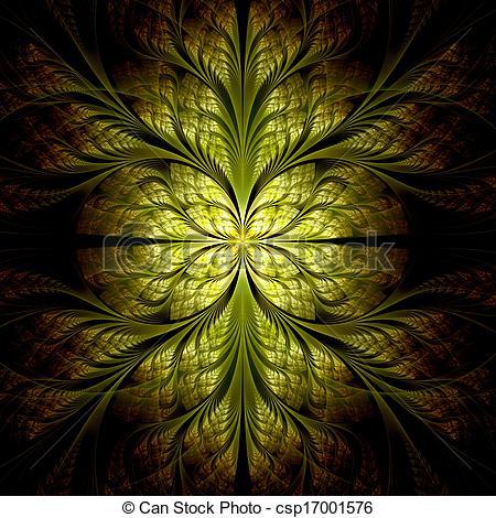 Stock Illustrations of Yellow flower pattern modern fractal art.