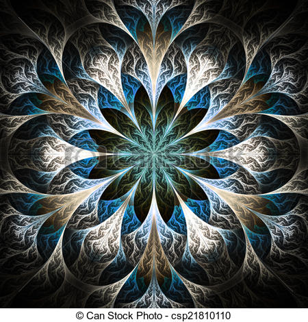 Clipart of Beautiful fractal flower in black, beige and blue.