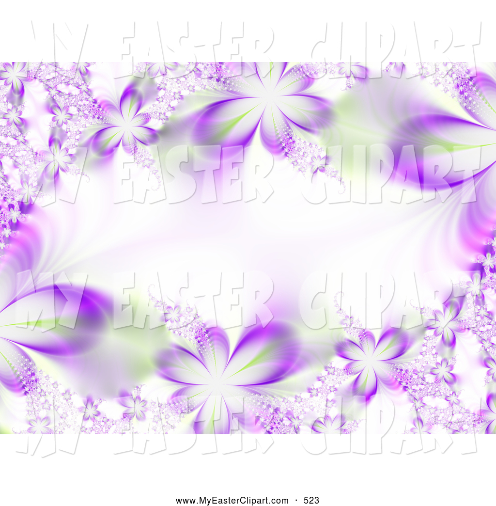 Clip Art of a Bright Horizontal Background of Purple Flower.