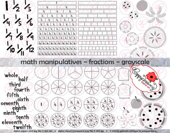 Math Manipulatives Fractions GRAYSCALE Clipart Set 300 dpi.