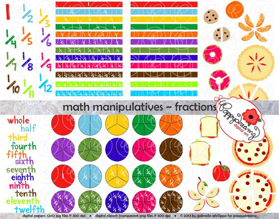 Math Manipulatives Fractions Clipart Set 300 dpi School.