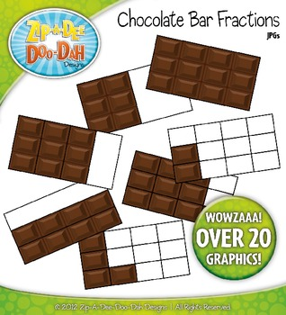 Chocolate Bar Fractions Clipart — Over 20 Graphics.