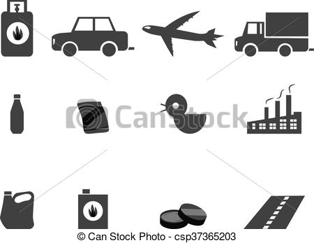 Vector Clipart of Icons for Oil Refining, Fractional Distillation.