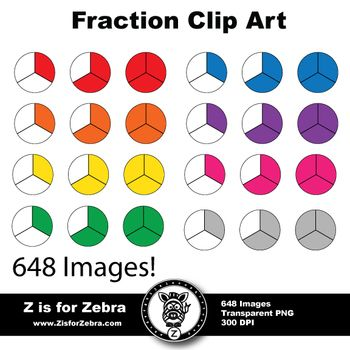 Circle fractions clipart.