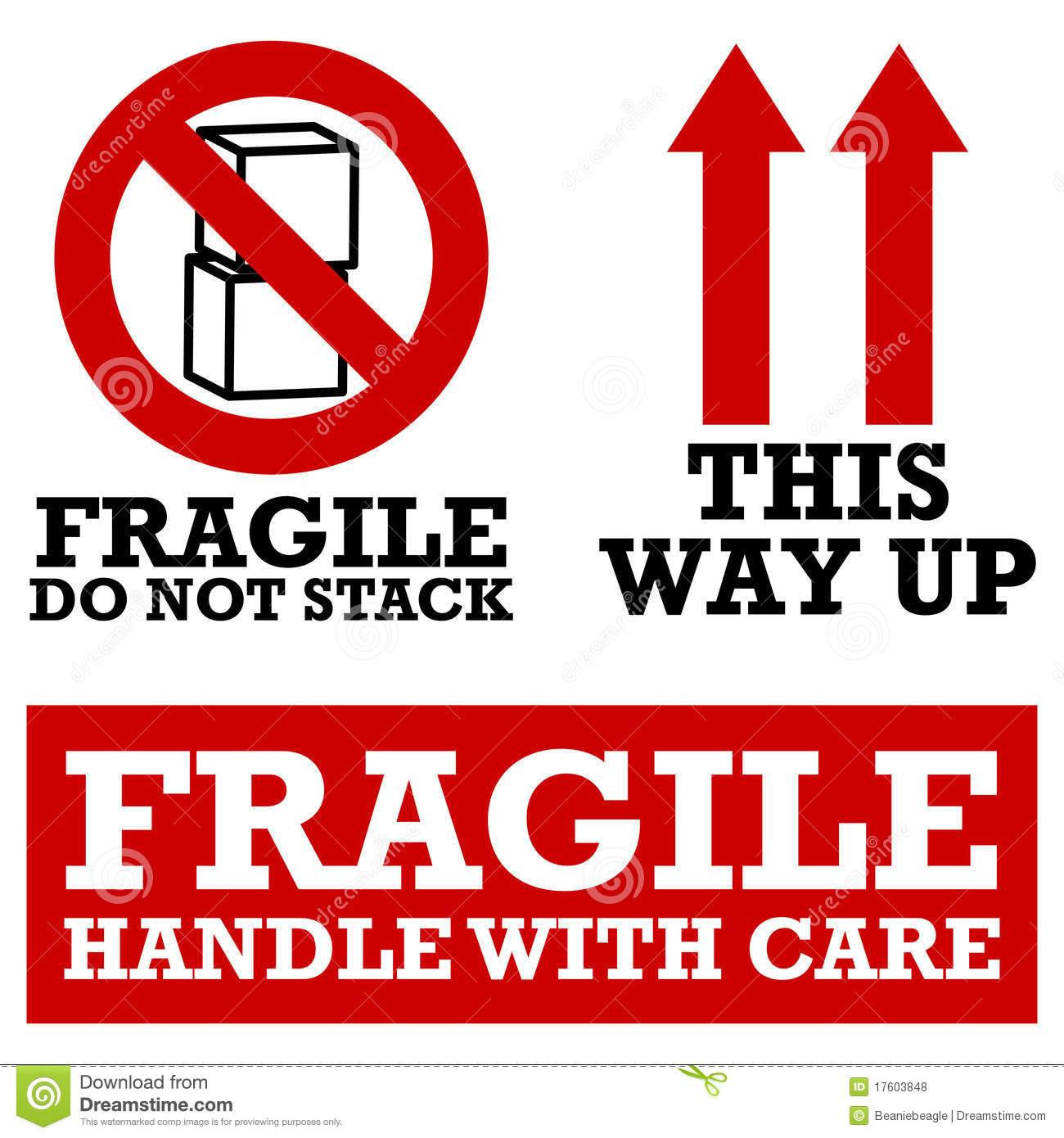 Fragile Handle With Care Labels Stock Photo.