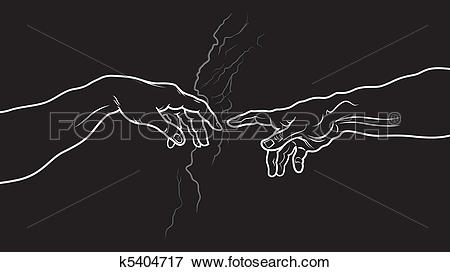 Clip Art of The Creation of Adam. Fragment (Invert vesion.