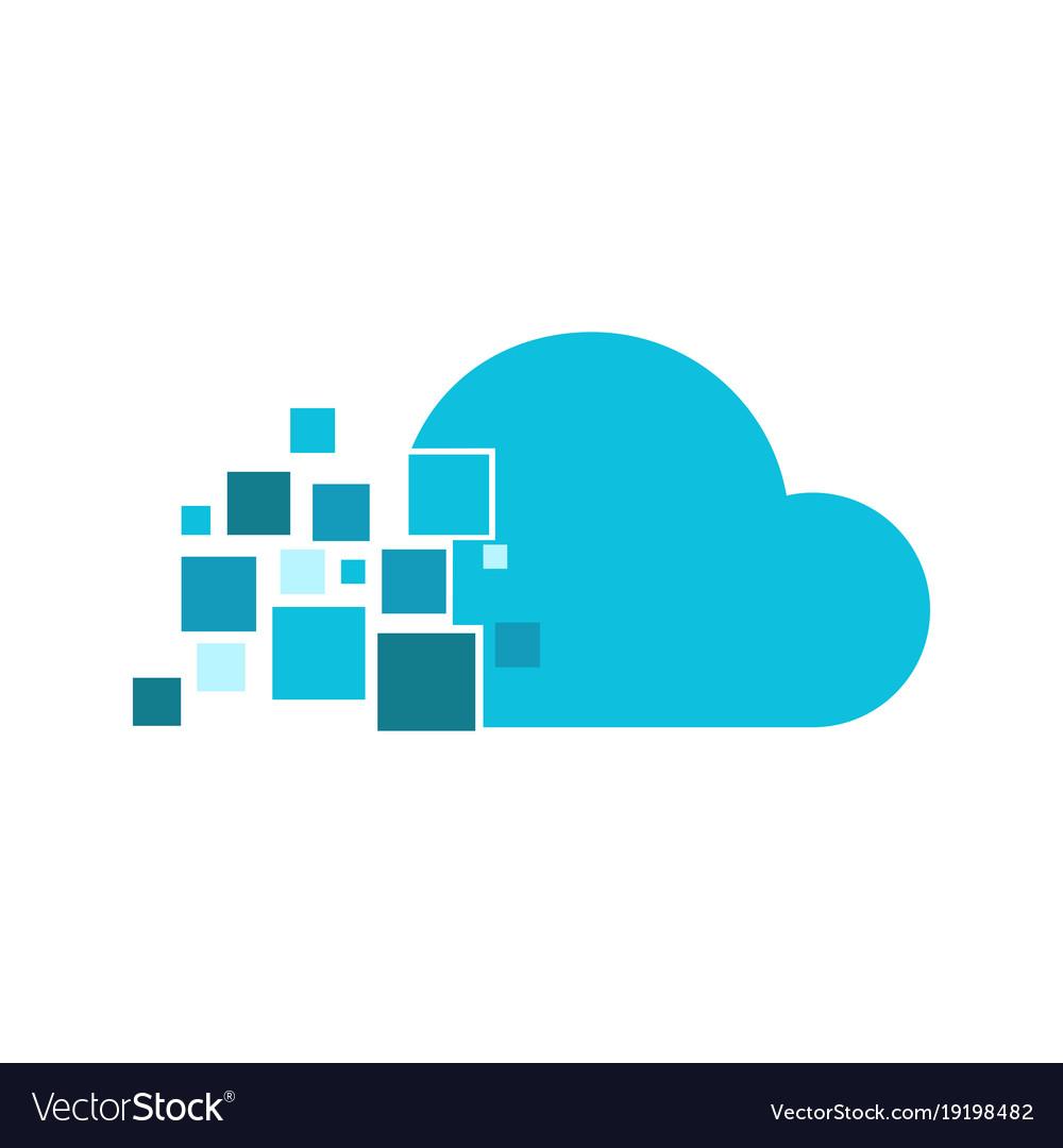 Cloud fragment technology logo graphic design.