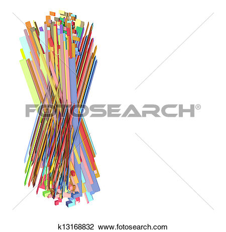 Clip Art of 3d fragmented multiple color abstract sharp shape.