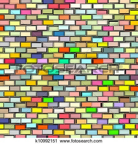 Clipart of abstract rainbow color tiled fragmented exploded.