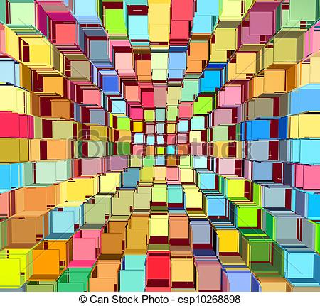 Stock Illustration of 3d abstract fragmented bright colored.