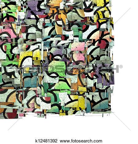 Clip Art of 3d fragmented multiple color cupcake graffiti backdrop.