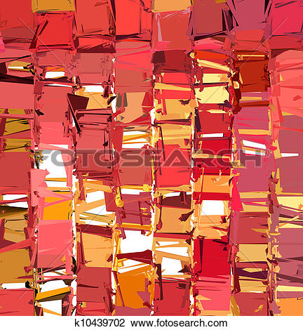 Clip Art of 3d abstract fragmented pattern in pink orange red.