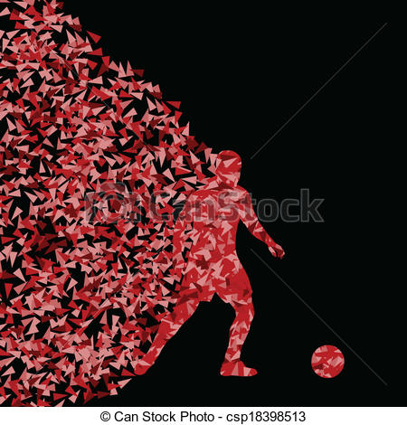 Vector Clip Art of Soccer player winner vector background concept.