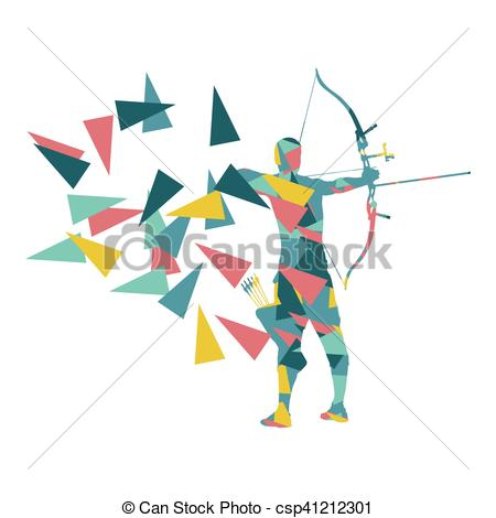 Vector Clipart of Archery man archer training with bow vector.