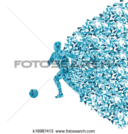 Clipart of Soccer player silhouette made of triangle fragments.