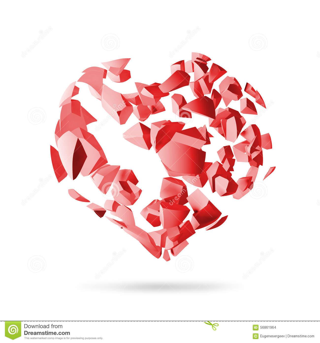 Broken Heart, Red Explosion Fragments Stock Illustration.