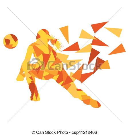 Clip Art Vector of Volleyball player woman silhouette made of.