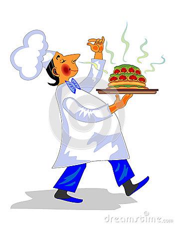 Chef With Fragrant Dish In Hand Stock Images.