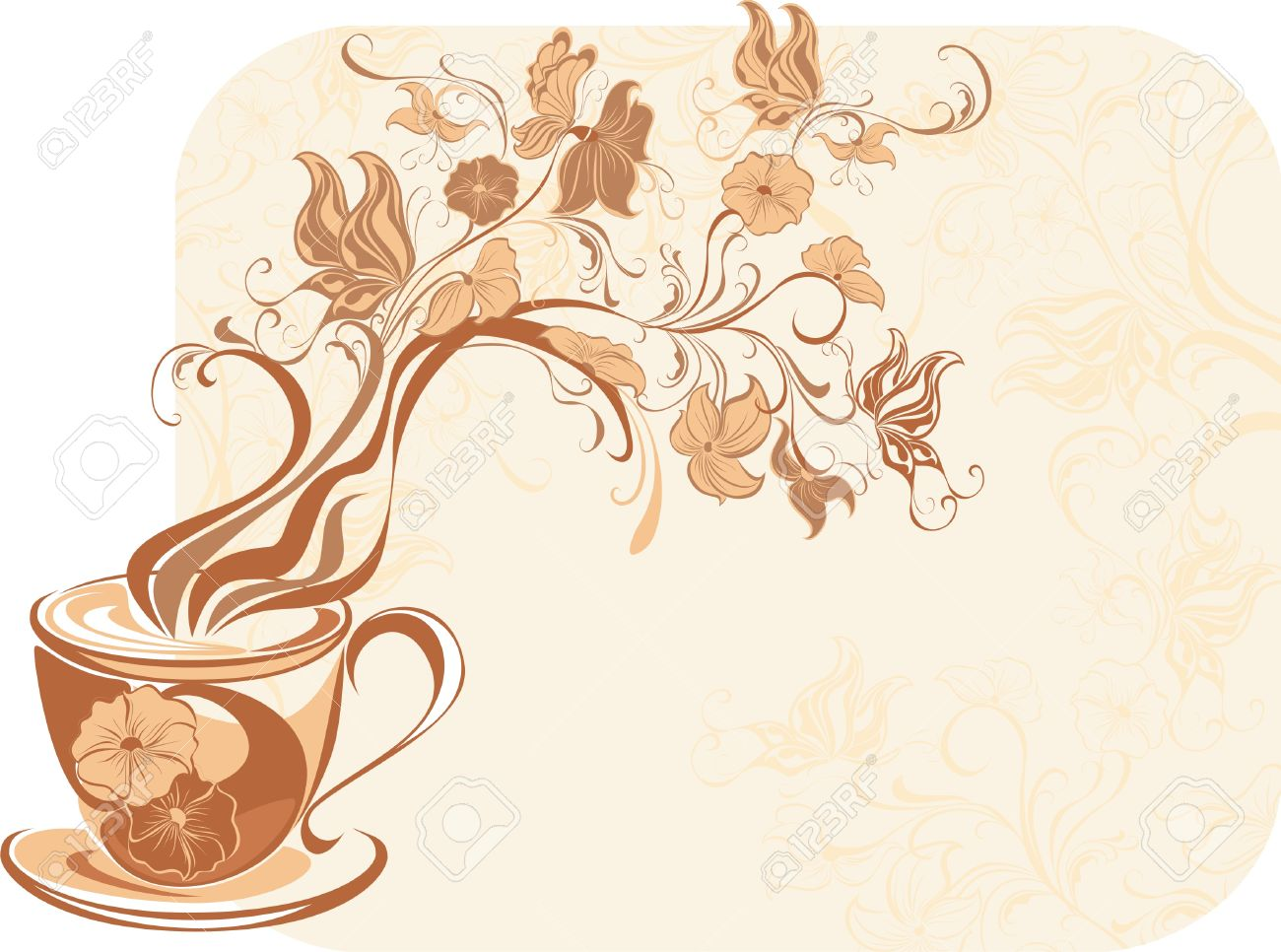 Floral Tea With Fragrant Flower Steam Royalty Free Cliparts.