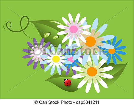 Vector Clip Art of beautiful delicate fragrant flowers and small.