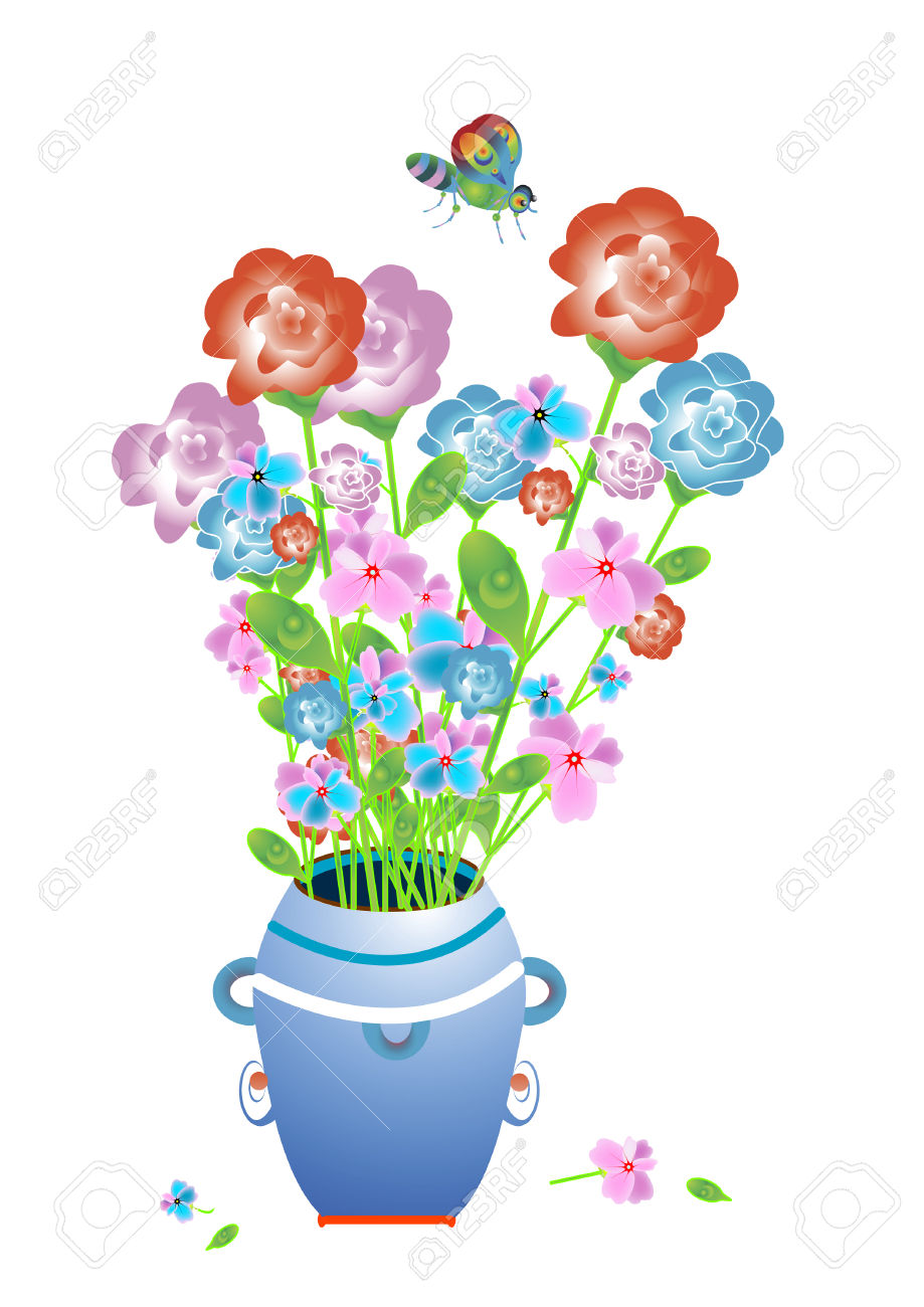 Beautiful Delicate Fragrant Flowers In The Vase And Butterfly.