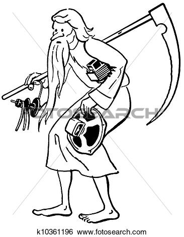 Stock Illustration of A black and white version of a frail old man.