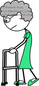 Clip Art Image of a Stick Figure of an Old Woman Using a Walker.