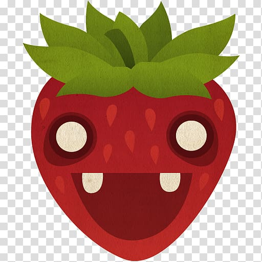 Red strawberry character digital illustration, head apple.
