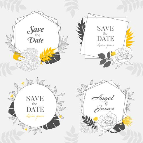 Hand drawn Yellow Floral Frame Background Collection.