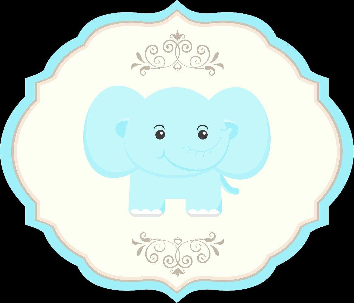 Etiqueta elefante azul.