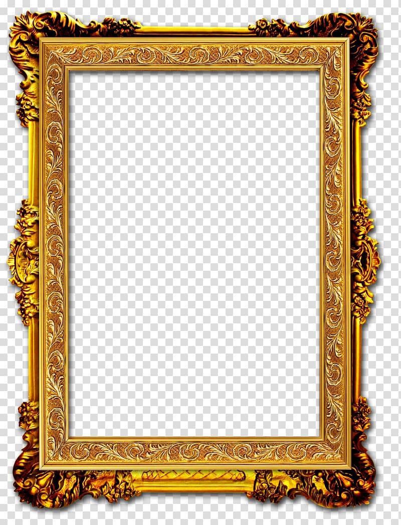 Frame Gold frame, Gold Frame, rectangular brown ornate frame.