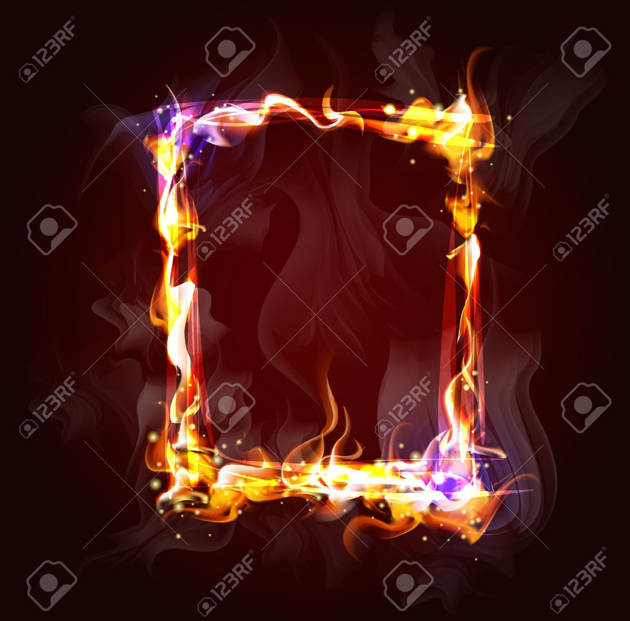 Fire Frame Background For Design Royalty Free Cliparts, Vectors.