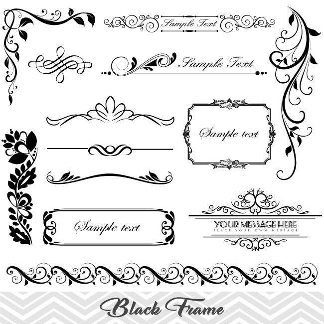 Black Frame Border Clipart, Flourish Swirl Frame Clip Art, Scrapbook  Embellishment 00014.