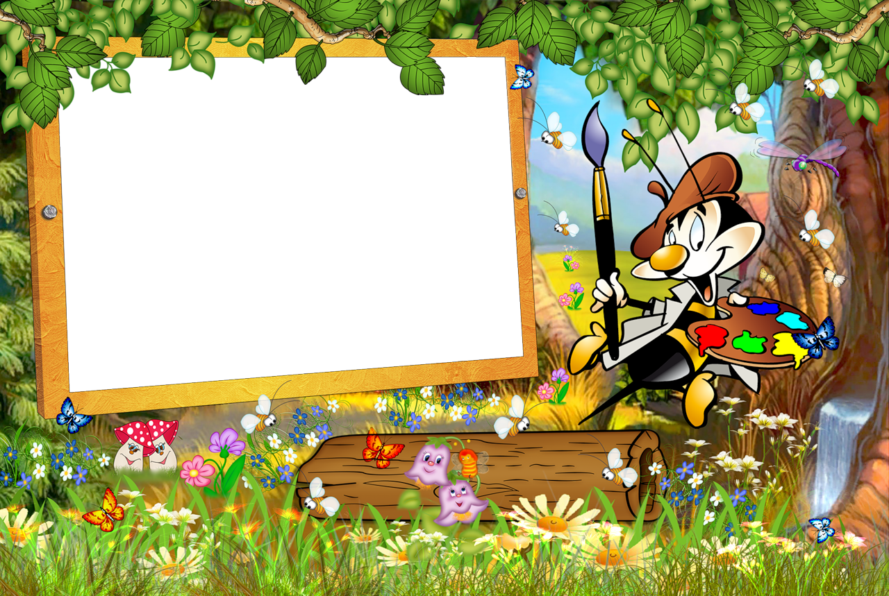 Kids Transparent Frame with Cartoon Painter.