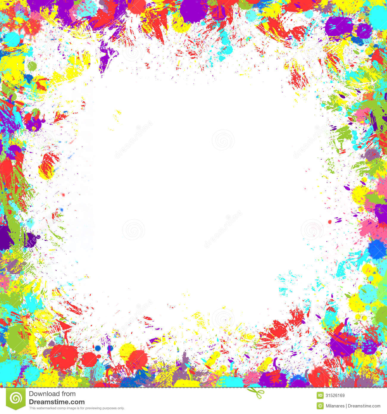 Colorful Inky Splash Frame Border Royalty Free Stock Images.