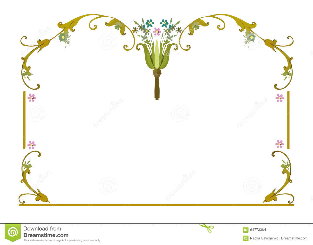 Frame Clipart Pink Flowers Blue Flowers Leaves Stock Vector.