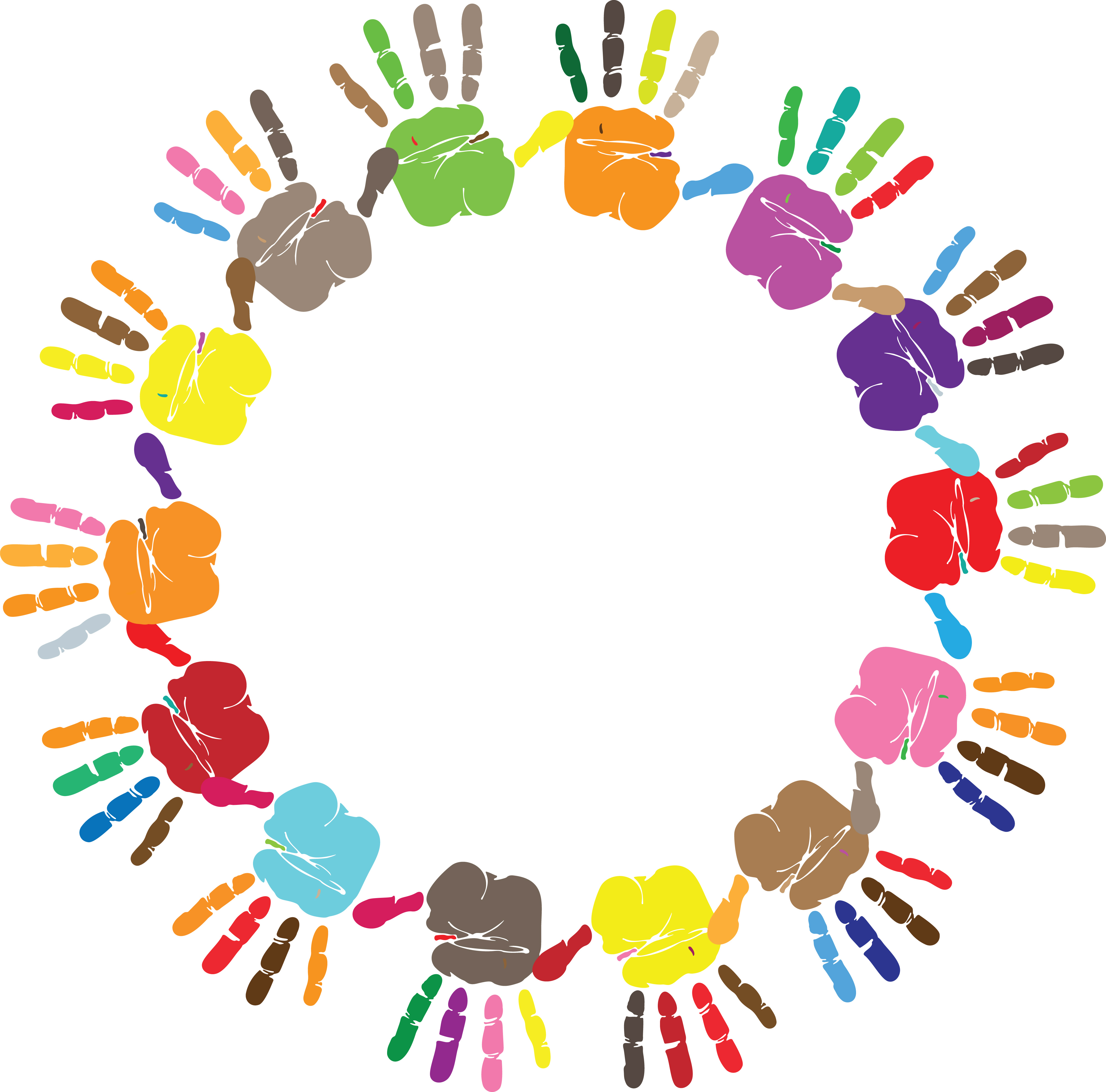 Clipart of a Round Frame of HandPrints in Color.