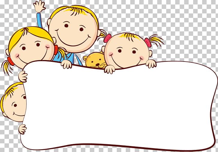 Cartoon Drawing , Cute cartoon kids frame, children PNG.