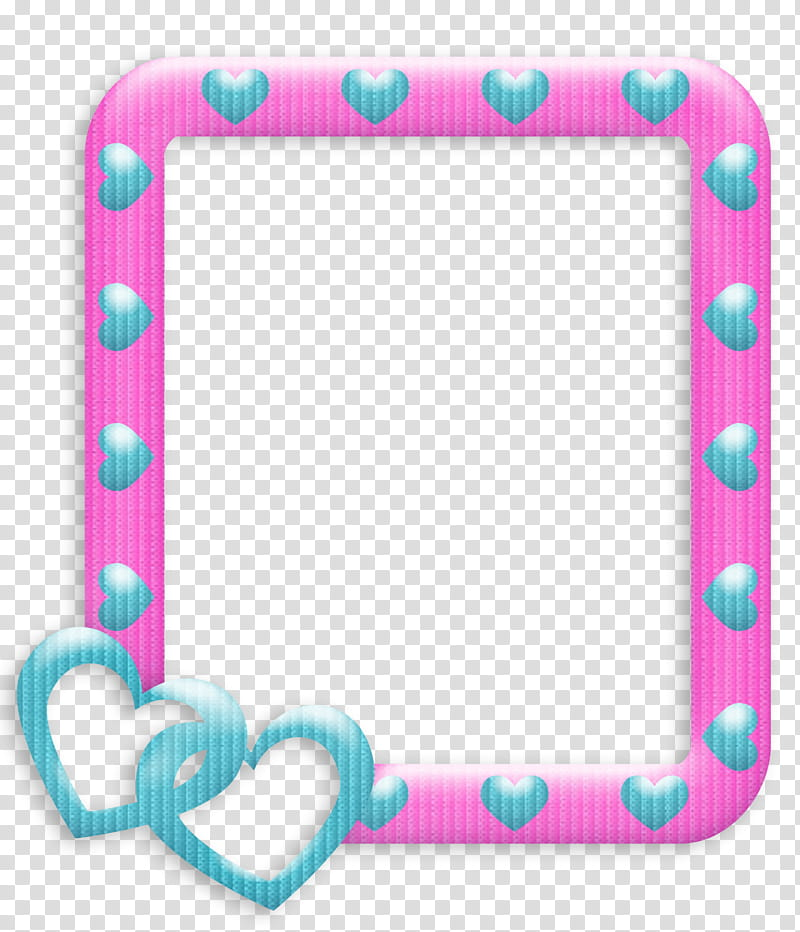 Frames Love, pink and blue frame art transparent background.