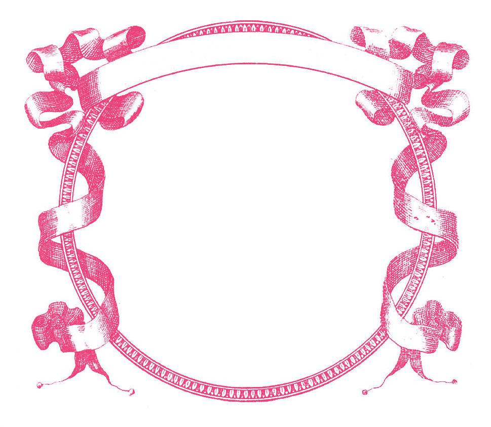 Pink Scroll Frame Clip Art.