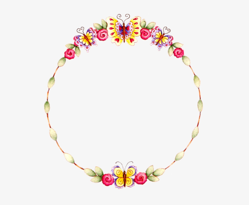 Floral Round Frame Transparent Background.